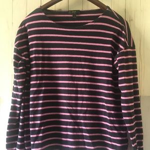 J. Crew Purple Crew Neck Striped Sweater